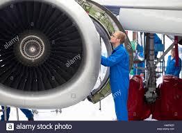 Turbine Engine Mechanic Aircraft Maintenance Technician Safety Checking Airplane Engine In
