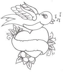 three hearts dove dagger love tattoo design photos pictures and