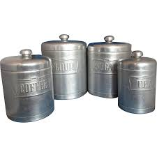 vintage canister set made in italy spun aluminum with copper lids