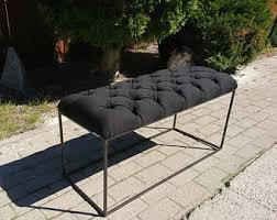 Iron Bedroom Bench Tufted Bed Bench Upholstered Bench Purple Velvet Bench Side