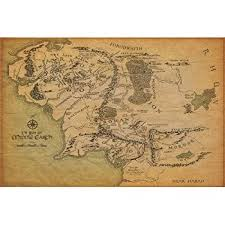 Lord Of The Rings Decor Amazon Com The Hobbit Journey Map Movie Poster Skyrim Poster