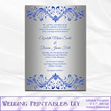 royal blue wedding invitations royal blue and silver wedding invitation template diy silver