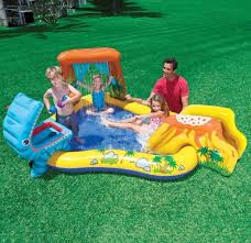 inflatable water park slide splash dinosaur play center backyard