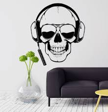 aliexpress com buy personality wall decal skull headphones gamer aliexpress com buy personality wall decal skull headphones gamer sunglasses boys room vinyl stickers home decoration stickers kw 210 from reliable home
