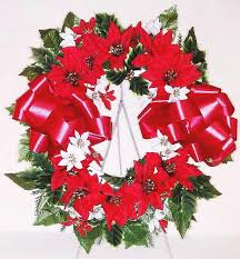 artificial poinsettia wreath for 16 inch