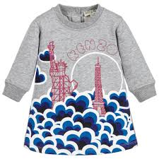 kids girls grey city print dress childrensalon