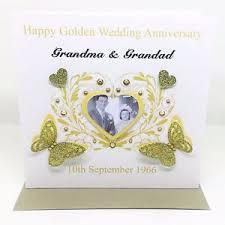 50 year wedding anniversary personalised handmade golden wedding anniversary photo card 50
