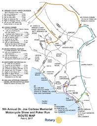Map Run Route by Dr Cortese Memorial Poker Run Rotary Club Of San Juan Capistrano