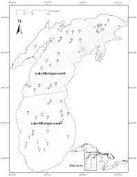 Lake Michigan Depth Map by Map Showing Station Locations Of Mysis And Fish Sampling In