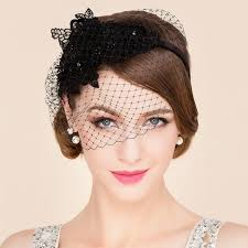 lace fascinator lace flower and veil design banquet party black