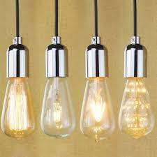 e27 pendant lamp holder chrome modern simple vintage edison bulb