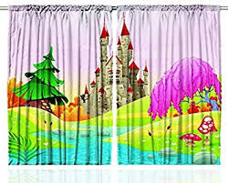 Green Kids Curtains Amazon Com Kids Curtains Fairy Castle Of Room Decor By Ambesonne