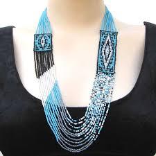 beaded seed bead necklace images Handmade beaded blue black seed bead layered medicine man 39 s eye jpg