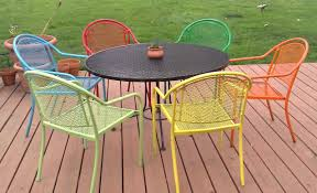 Wrought Iron Patio Furniture Set by Painting Metal Patio Furniture With Six Chairs And Round Table