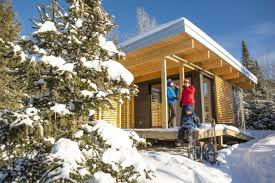 small chalet home plans chalet exp a tiny modern cabin for quebec u0027s wilderness parks