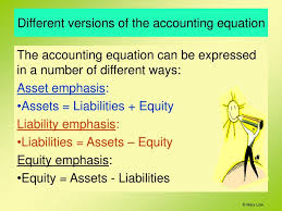 diffe versions of the accounting equation the accounting equation can be expressed