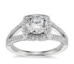 platinum halo engagement rings lhuillier split shank halo engagement ring in