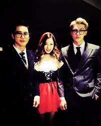 suho and sehun with tiffany from girls generation at the sm