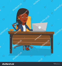 african woman sitting table laptop holding stock vector 561987754