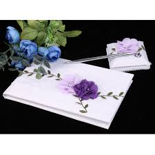 guest signing book wedding guest book white lace purple flowers guest signing book