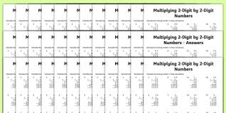 multiplication 2 digit x 2 digit missing numbers differentiated