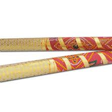 buy handmade navratri dandia sticks in red and gold color online