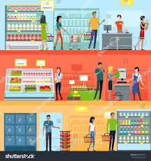 Shop In Shop Interior Designs by People Supermarket Interior Design People Shopping Stock Vector