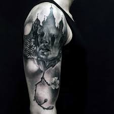collection of 25 black and white tree on half sleeve