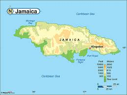 jamaica physical map welcome