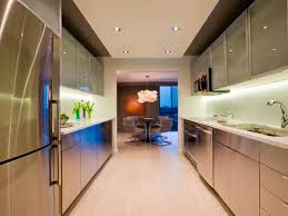 Galley Kitchens Chic Small Modern Galley Kitchen Featuring White Wooden Color
