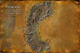 kalimdor map felwood map with locations npcs and quests of warcraft