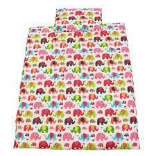 Cot Duvet Set Cot Bed Duvet Cover Set 100 Cotton Colourful Elephants Becky