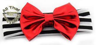 big ribbon big bow headbands baby black white striped