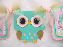 owl baby shower theme owl baby shower banner turquoise pink plaid its a girl 30 00