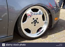 volkswagen golf modified chrome mercedes wheel on a lowered suspension volkswagen golf with