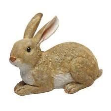 small rabbit garden statue bunny reading book figurine sculpture
