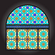 stained glass ancient ornamental windows royalty free cliparts