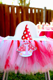 tulle skirt and toadstool tag on an ikea antilop highchair