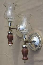 Wall Sconces Candles Holder Retro Wood Wall Sconce Candle Holders W Glass Shades 60s Vintage
