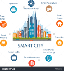 smart city concept with different icon and elements modern save to