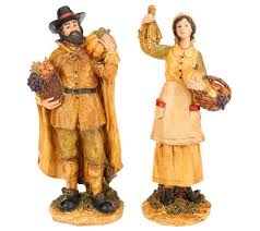 thanksgiving pilgrim figurines 2 pilgrim figurines by valerie page 1 qvc