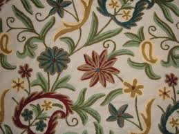 Traditional Upholstery Fabrics Crewel Fabric Floral Vine Paisley Natural Shock Cotton Duck