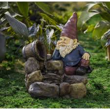 jeco thinking gnome water fountain fcl117 the home depot