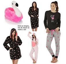 ladies pink flamingo slippers pyjamas short hooded dressing gown