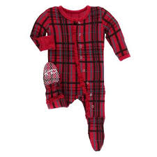 Kickee Pants Ruffle Footie in Christmas Plaid  GreenPea Clothing