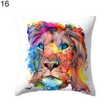 lion tiger pattern throw pillow case home decor sofa waist cushion