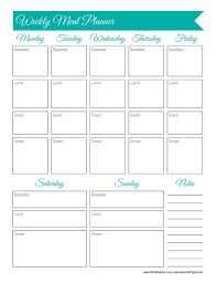 printable blank meal planner 30 days of free printables weekly meal planner worksheet weekly