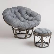 Papasan Patio Chair Furniture Dark Rattan Frame Papasan Couch With White Cushions And