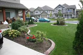 north facing front yard for ranch style home simple landscape
