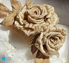 hair corsage fabric flowers silk flower hair comb bridal hair corsage gold